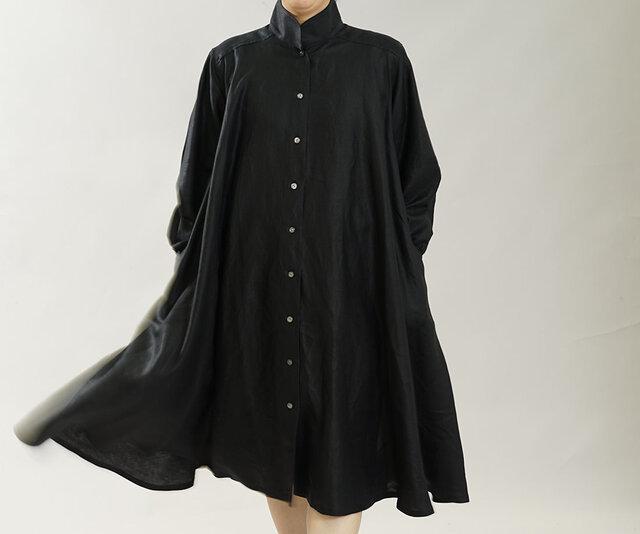薄手 リネン 羽織 2way リネンワンピース シャツ フレアドレス 長袖 ミモレ丈 / ブラック a080a-bck1の画像1枚目
