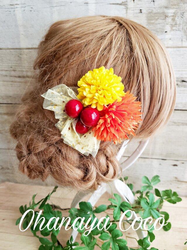 花funwari  ポンマムとチュールの髪飾り クリップピンタイプNo588の画像1枚目