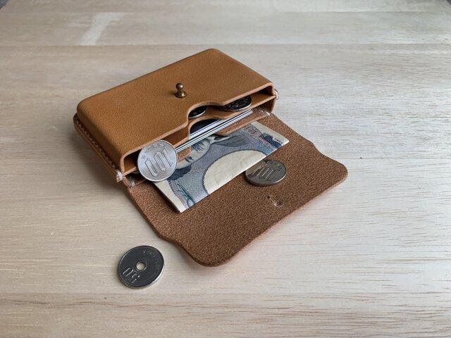 【新作】小銭も入るミニマル財布 手縫い 栃木レザー【名入れ・選べる革とステッチ】の画像1枚目