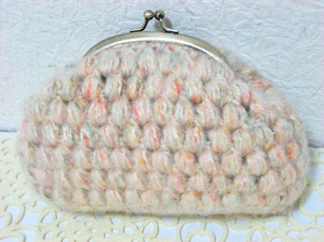 ぷっくり玉編みのがま口ポーチ <Lサイズ>の画像1枚目