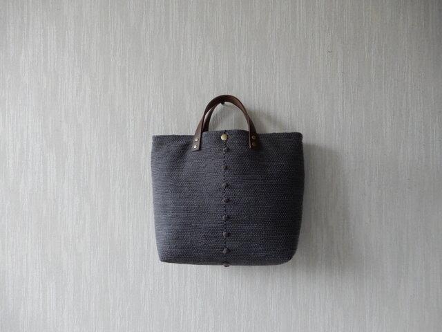 【受注制作】裂き織りのバッグ Lサイズ スクエア チャコールグレーの画像1枚目