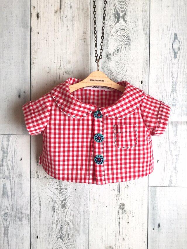 ダッフィーサイズのお洋服 ギンガムチェック半袖シャツの画像1枚目