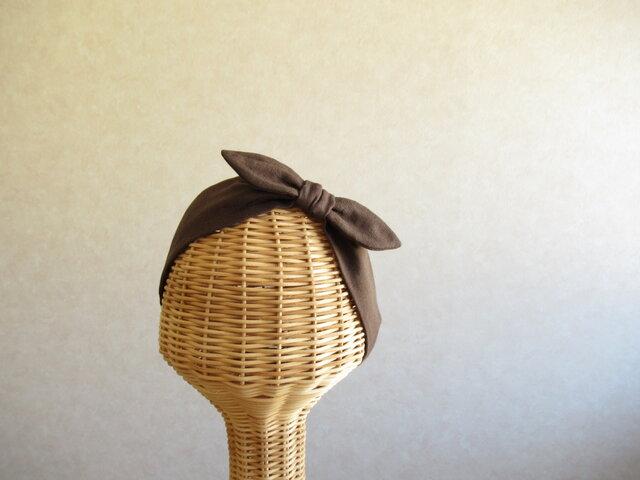 リボンのヘアバンド チョコレート、ダブルガーゼの画像1枚目
