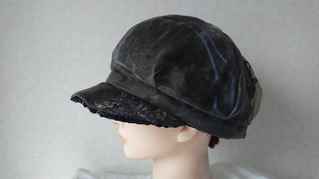 魅せる帽子☆超軽量30g!!涼しい♪レースとオーガンジーのリバーシブルキャスケット~ブラック&ブラウンの画像1枚目