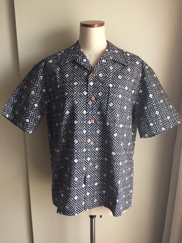 浴衣シャツ(メンズ向け・Lサイズ)亀甲×あじろ柄の画像1枚目