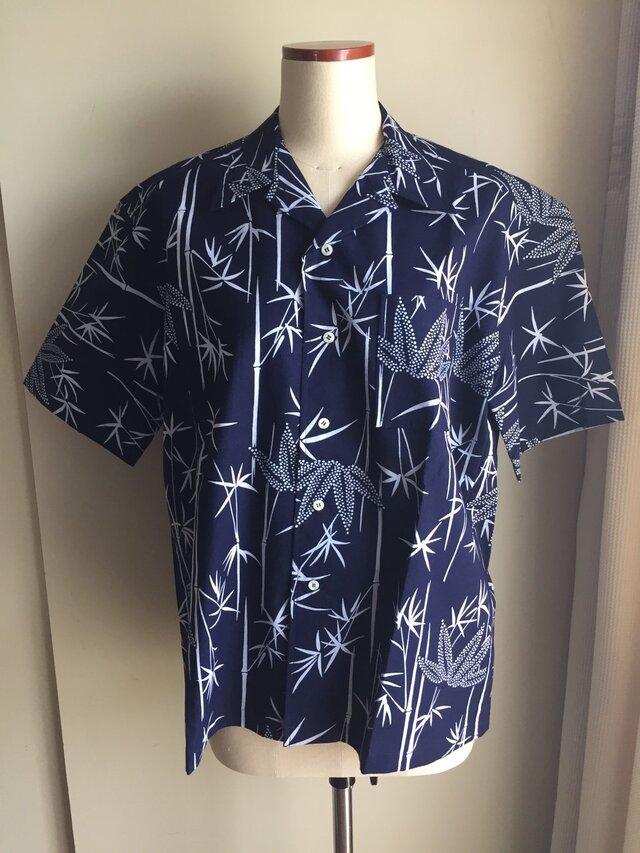 浴衣シャツ(メンズ向け・Lサイズ)竹柄の画像1枚目