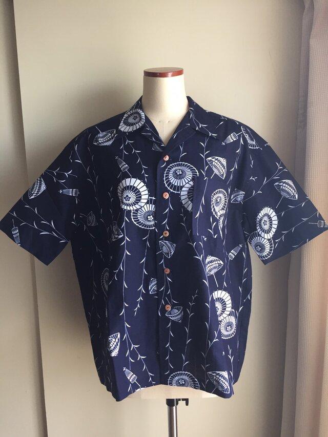 2L〜3L・浴衣シャツ(メンズ向け)番傘柄の画像1枚目