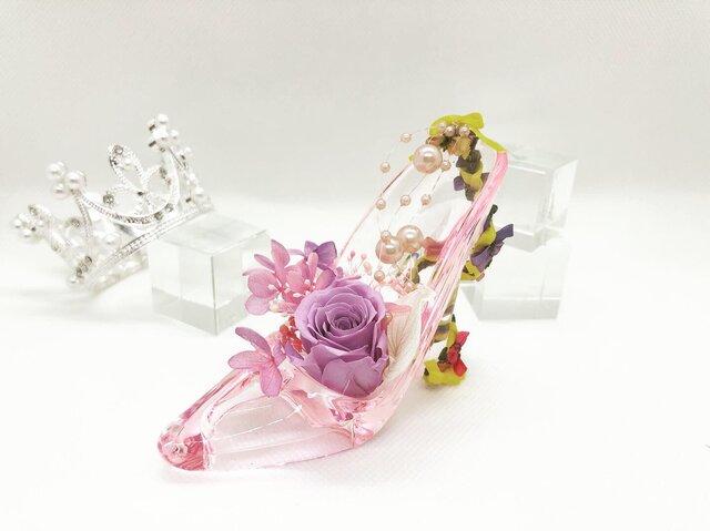 【オーダーメイド】ガラスの靴モチーフ プリザーブドフラワーの画像1枚目