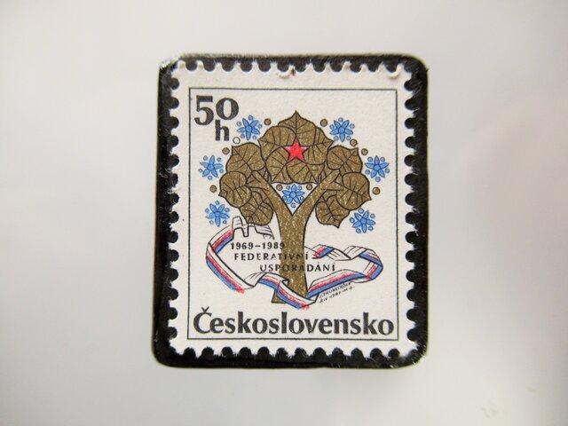 チェコスロバキア 切手ブローチ5362の画像1枚目