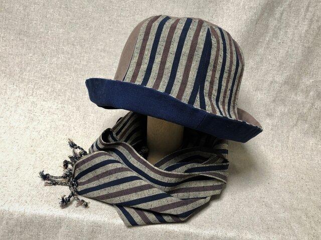 遠州綿紬のリバーシブルクロッシェ 木立×紺の画像1枚目