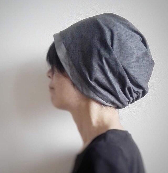 ターバンな帽子 プチドット+グレー 送料無料の画像1枚目
