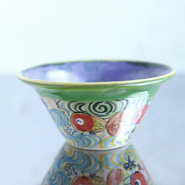 金魚と流水模様の鉢(ラベンダー)の画像1枚目