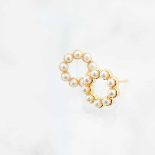 sv925 pearl circle stad pierces/nohole n380の画像1枚目