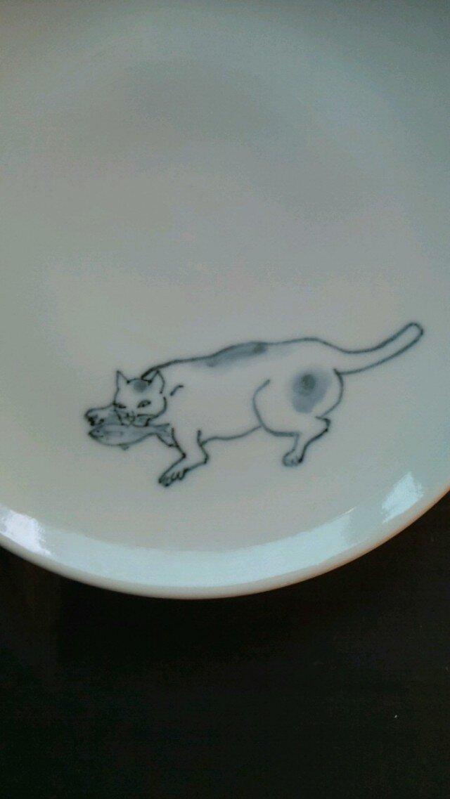 染付5寸猫皿4の画像1枚目