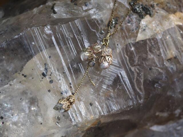 真鍮パールネックレス&ハーキマーネックレスの画像1枚目