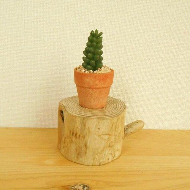 【温泉流木】かわいい枝と年輪が美しい丸太の台座 もの置台 流木インテリアの画像1枚目