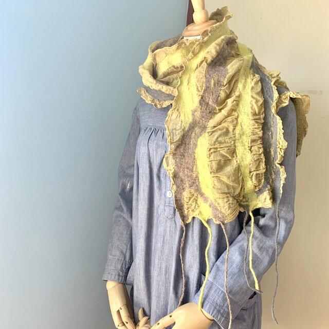 羊毛と草木染めガーゼのストール(イエロー)の画像1枚目