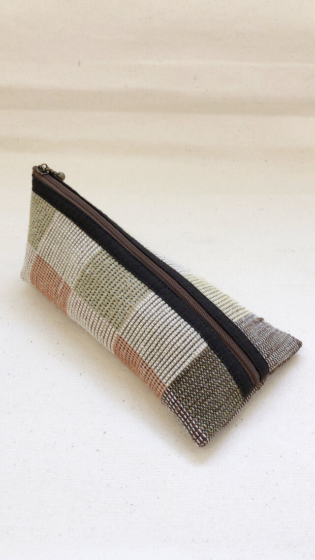 裂き織り ペンケース(ブロックチェック柄)の画像1枚目