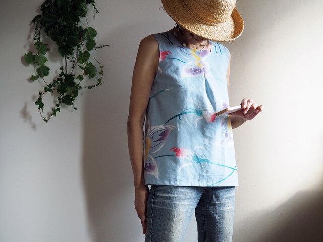 K's -トロピカル花模様のスリーブレストップス-浴衣(古布)からの画像1枚目