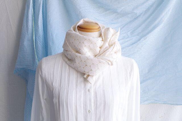 日除け&冷房対策Organic Cotton コンパクトマフラー【ラッセルレース】の画像1枚目