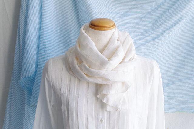 日除け&冷房対策Organic Cotton コンパクトマフラー【シャドーチェック】の画像1枚目