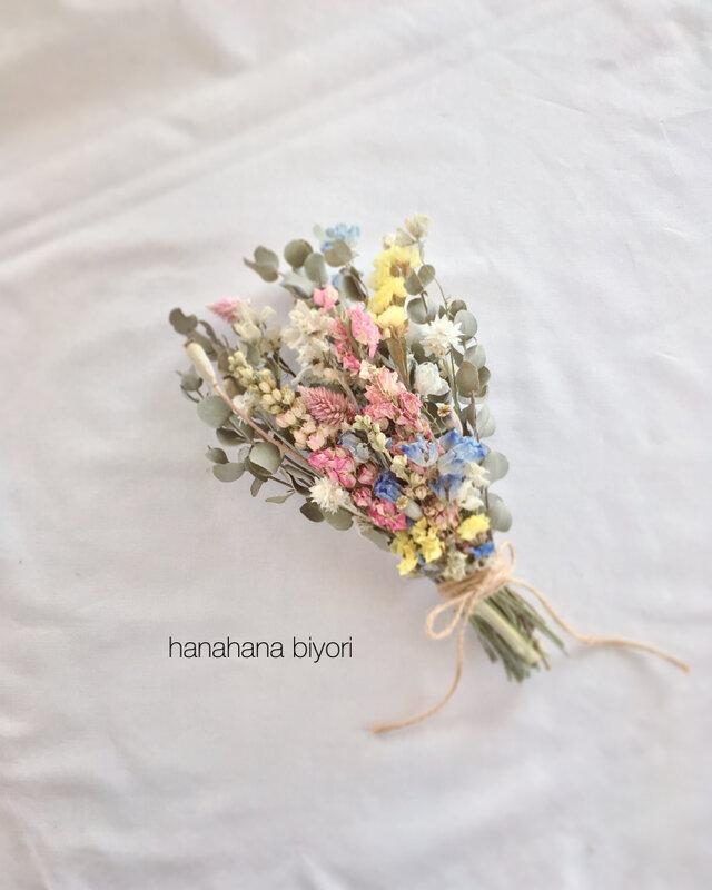 ピンク色のチドリソウと小花のブーケ・スワッグ ※ラッピングは別途ご購入お願いしますの画像1枚目