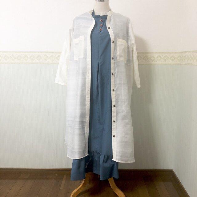 高級シルク100%【一点物】着物リメイク シンプル ロング丈シャツ 羽織 大人カジュアル ポケット UVカットの画像1枚目