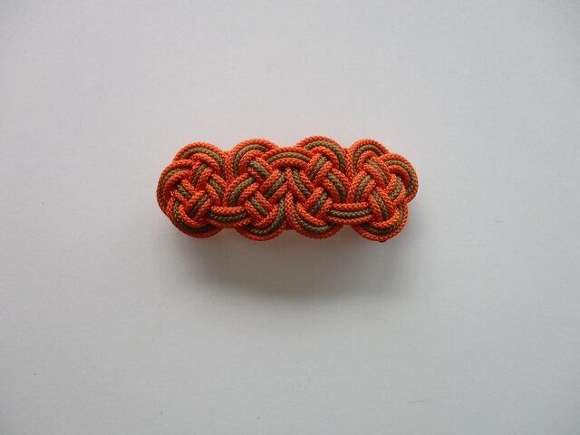 受注制作 ひもで結んだバレッタ オレンジ×カーキ色の画像1枚目