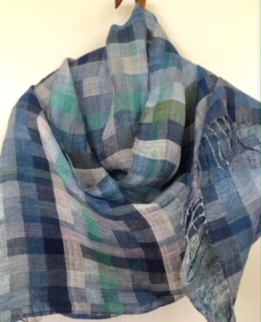 ◆手織/リネン(亜麻)極細単糸ストールの画像1枚目