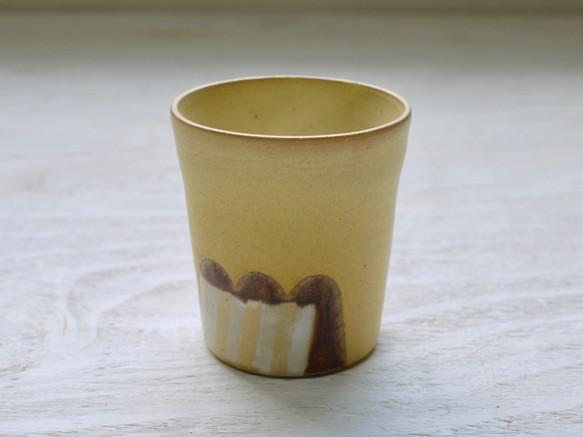 フリーカップ 黄色マット+ストライプの画像1枚目