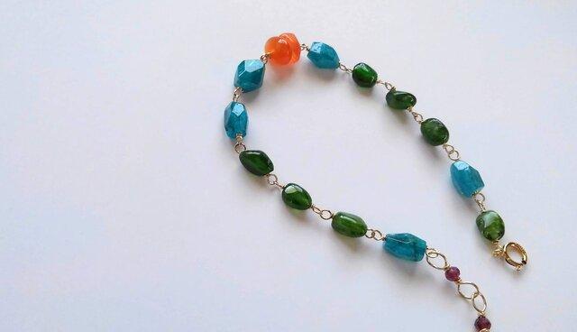*14KGF orange chalcedony・vitamin color braceletの画像1枚目