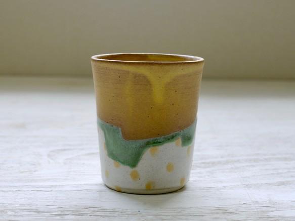 フリーカップ 黄色マット+水玉の画像1枚目