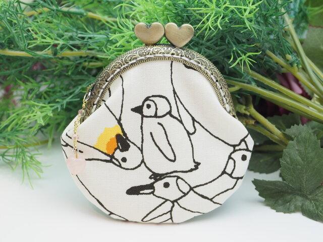 気持ち華やぐ☆がま口ポーチ・コインケース(口金8.5センチ)ペンギンの画像1枚目