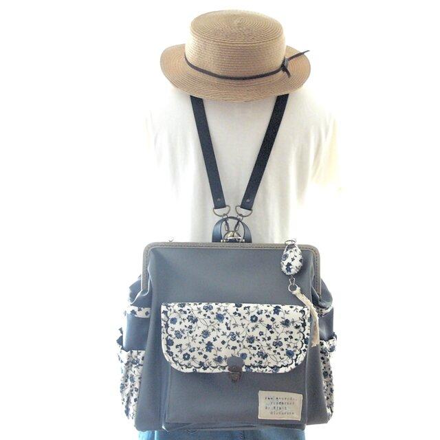 左ファスナー&背中ポケット付きBIG3WAYリュック ストーングレー×ソフトブラック+小花柄の画像1枚目