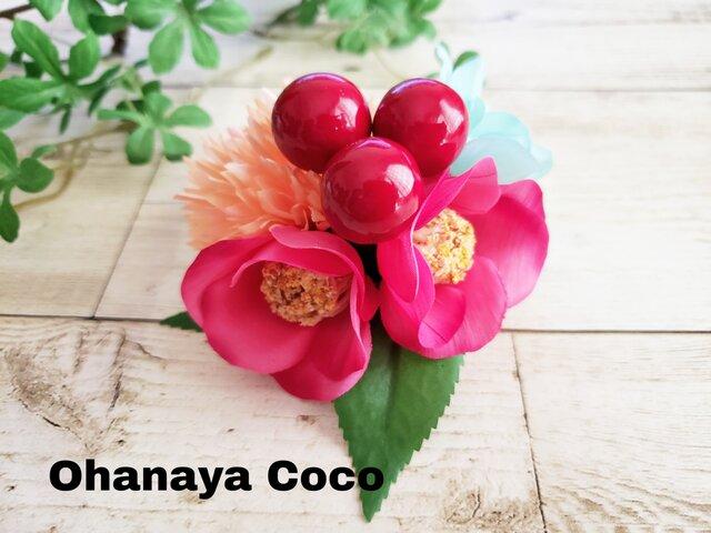 花funwari ピンク椿とポンポンマムの髪飾り クリップピンタイプNo591の画像1枚目