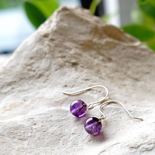 K18 高品質 スーパーセブン 小粒ピアス 天然石 美しい紫色の画像1枚目