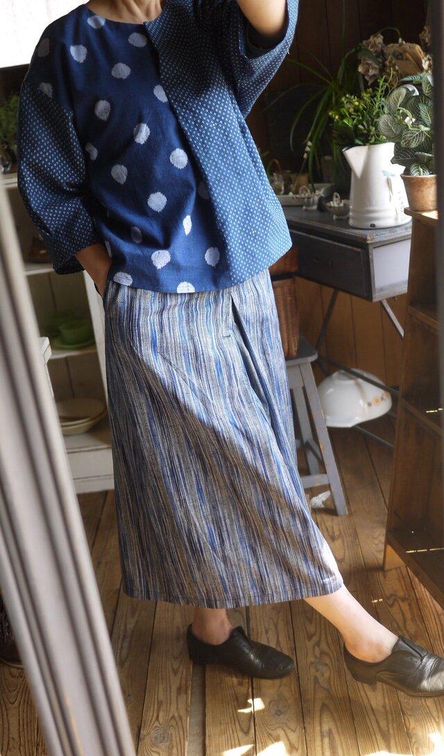 久留米絣タックスカートパンツの画像1枚目
