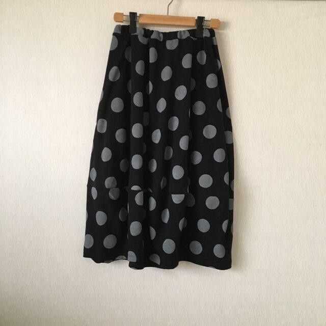 デカ水玉バルーンスカート 黒×グレーFの画像1枚目