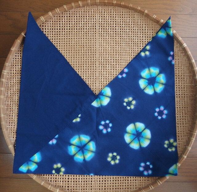 東袋(あずまぶくろ)・雪花虹色絞り(ブルー系) 綿100% 手染めの画像1枚目