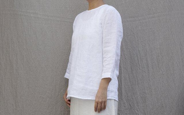 リネン プルオーバー8分袖/white/9号(S)の画像1枚目
