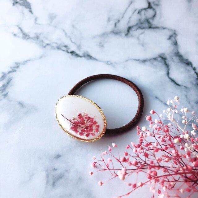 桜色 ピンク かすみ草 フラワー ヘアゴム  ポニーフック ヘアクリップの画像1枚目