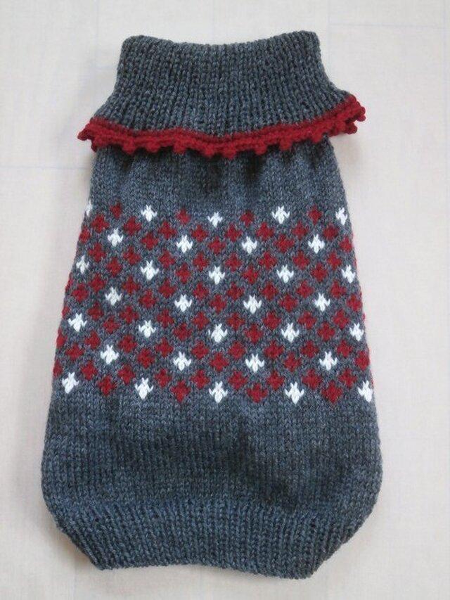 犬服 洗濯機OKのセーター(グレー&白&赤)の画像1枚目
