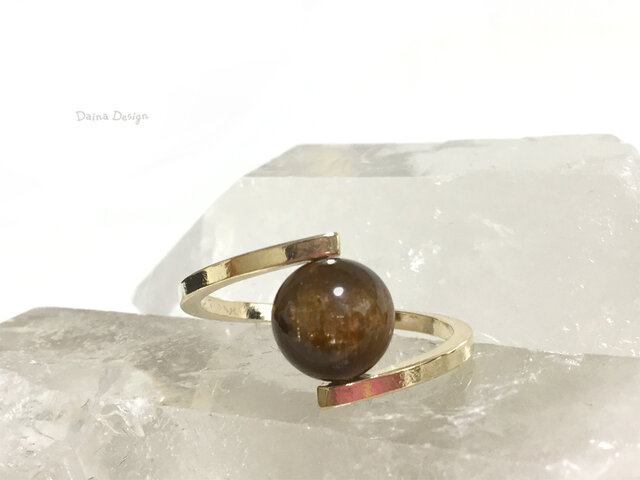 トルマリン 指輪 10月誕生石 レア 天然石 一粒 リング ☆ ダイナデザイン ☆ ゴールド カラー 11号の画像1枚目