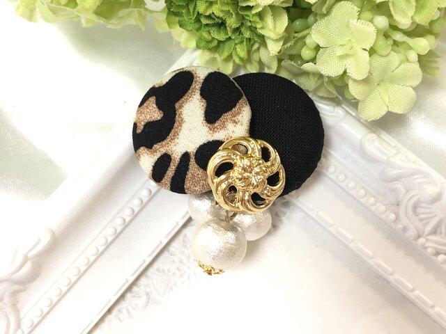 豹柄 レオパード ×シンプルカラーとコットンパール ポニーフック〈ブラック〉の画像1枚目