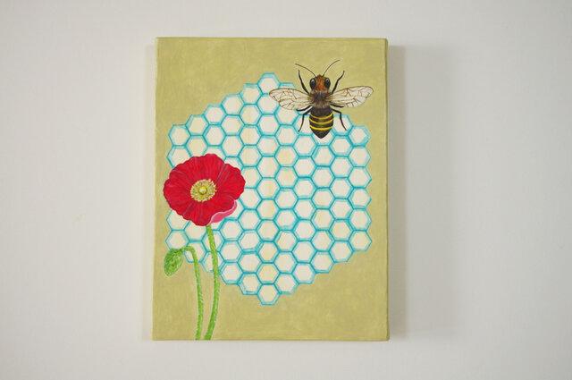 油絵 原画「work」F0サイズ ミツバチ 蜂 ポピーの画像1枚目