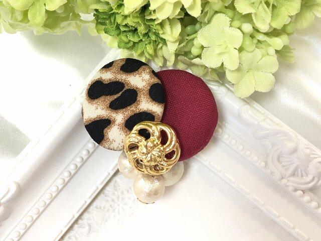 豹柄 レオパード ×シンプルカラーとコットンパール ポニーフック〈レッド〉の画像1枚目
