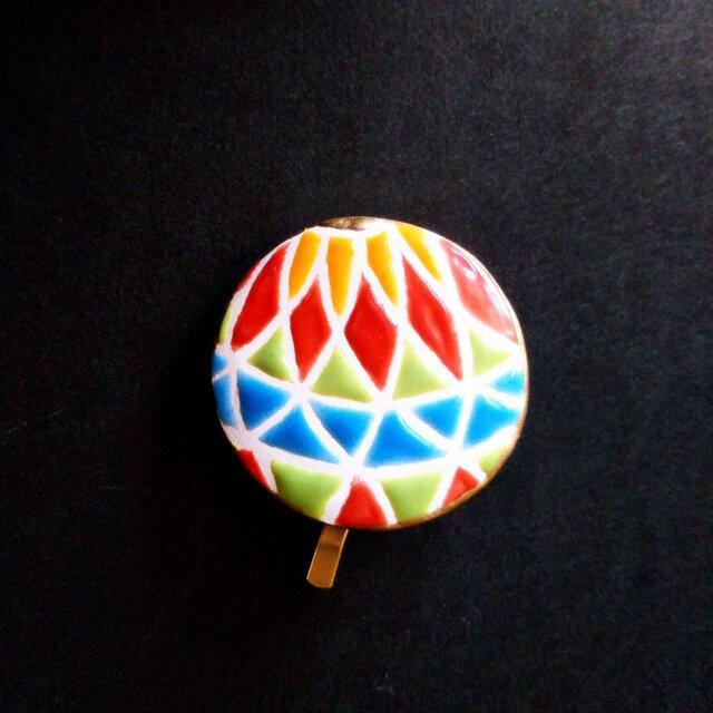 鮮やかな和の鞠のポニーフック スペインタイルの画像1枚目
