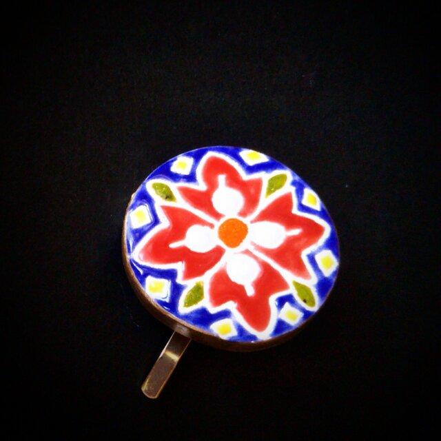 鮮やかな花のポニーフック スペインタイルの画像1枚目