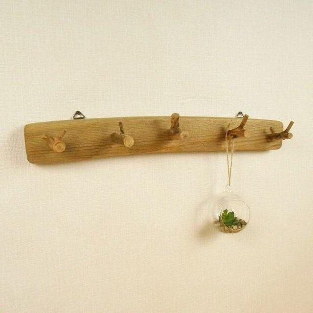 【温泉流木】枝付きフックがかわいいナチュラルなウォールラック 壁掛けフック 流木インテリアの画像1枚目