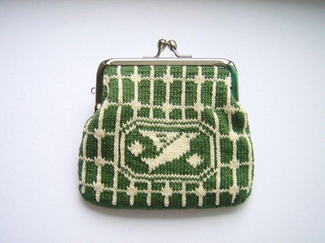 編み込みのがま口 鳥 深緑の画像1枚目